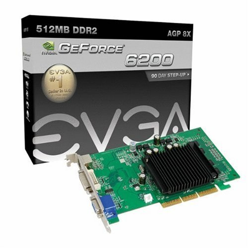 Geforce Video 5200 Card - EVGA GeForce 6200 512 MB DDR2 AGP 8X VGA/DVI-I/S-Video Graphics Card, 512-A8-N403-LR
