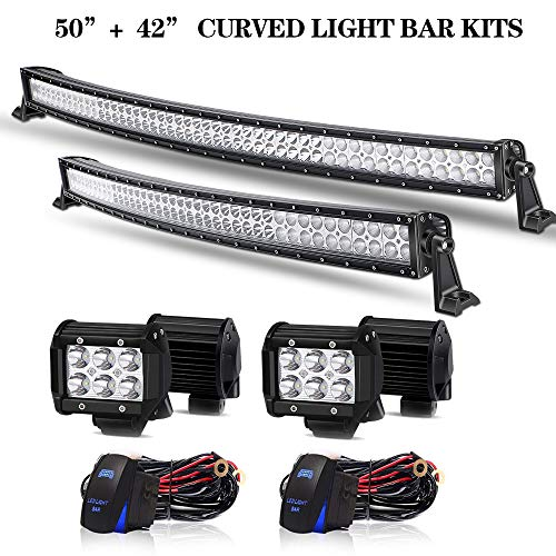 T-Former DOT Approved 50 Inch Curved LED Light Bar + 32Inch Curved Light Bar Combo Offroad Lights + 4PCS 4
