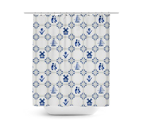 Delft Blue Holland Pottery Shower Curtain - 66x72 Large (Pottery Delft)