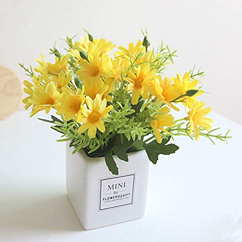 AIFUSI Artificial Flowers Daisy Flower Yellow Artificial Gerber Daisy Fake Plant for Home,Office,Wedding Decoration (Yellow-1 Pack) -