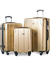 3 Piece P.E.T Luggage Set with TSA Lock Eco-friendly Light Weight Spinner Suitcase(Light Sunbeam Glow)
