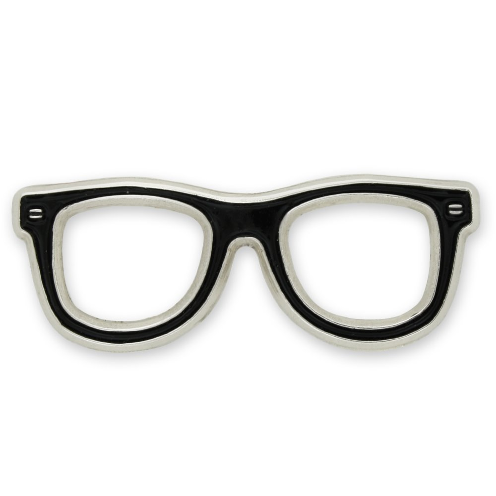 PinMart Black Glasses Frames Eyeglasses Enamel Lapel Pin