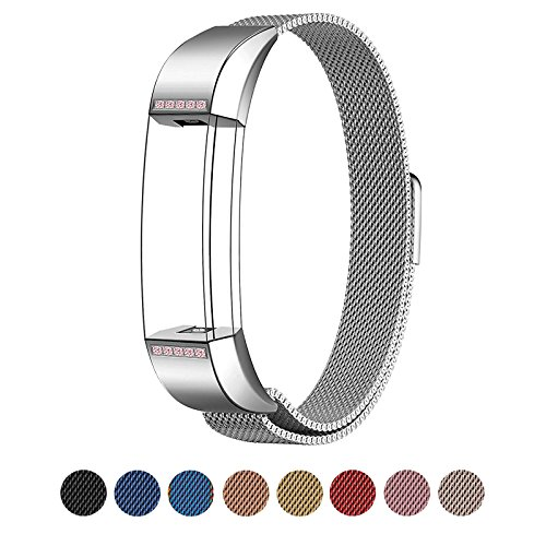 Fitbit Alta Bands Metal, Swees Milanese Loop Stainless Steel Replacement Accessories Metal Diamond Bracelet Small & Large Bands Band for Fitbit Alta, Silver