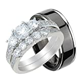 His and Hers Wedding Rings Set Her Sterling Silver and Black Plated Titanium for Him