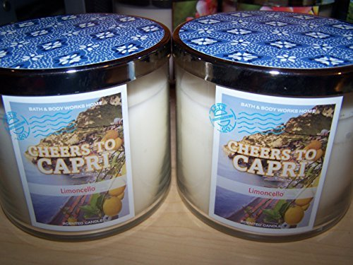Lot of 2 Bath & Body Works Cheers to Capri Limoncello 3 Wick Scented Candle 14.5 Oz Each (Scented) by Bath & Body Works