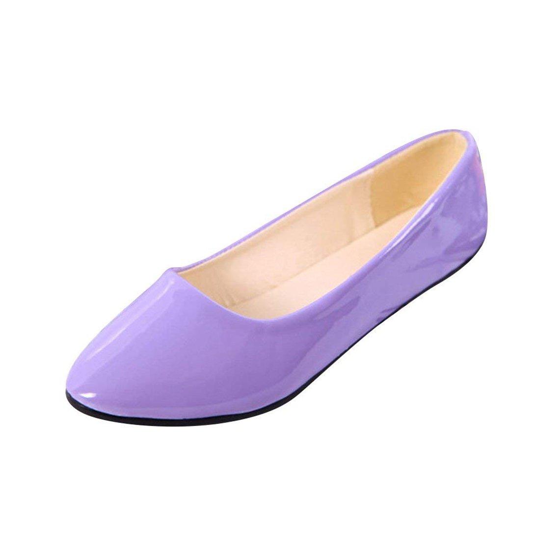 Femme sur Ballerines Plates Pointue Glisser Brillante sur Depolie Faux Faux Cuir Brillante Mode Simple Chaussures de Été Violet 5788dd3 - conorscully.space