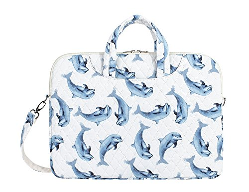Quilted Purse Traveler Handbag (Leaper Cute Dolphin Laptop Bag Messenger Bag Shoulder Bag Case Sleeve for 14 Inch 15 Inch Laptop MacBook Pro 15 Case Laptop Briefcase 15.6 Inch)