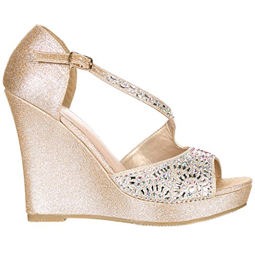 Deblossom Womens Chic Glitter Strass T-band Platform Wig Sandaal Aalle-2 Nude Band