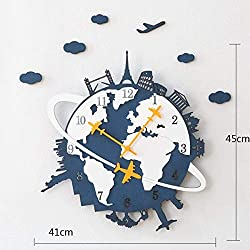 MGE UPS Systems Clock Wall Clock,Modern Creative Living Room Wall Maps Decorative Wall Clocks Personalized Silent Household Quartz Watches (Color : Blue)