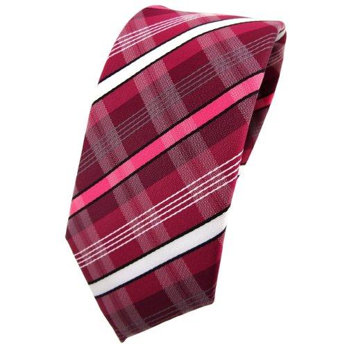 étroit TigerTie cravate rouge bordeaux fraise rouge blanc noir gris rayé - Tie