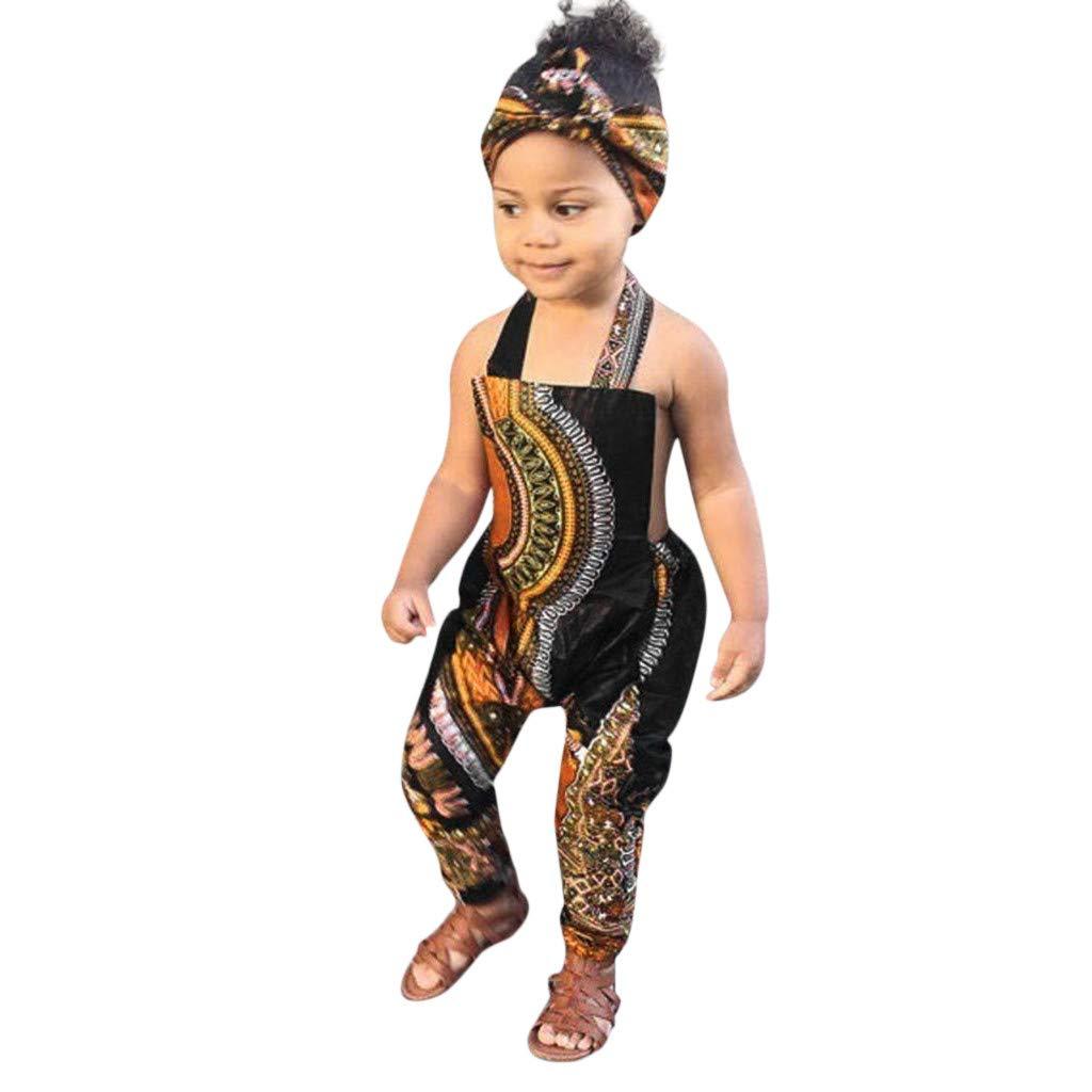 Fascia per Capelli Bambino Neonata Senza Manica Africa Etniche Stampa Tutina Body Ragazze Ragazza Bimba Mbby Tutine Bambina 0-4 Anni Pagliaccetti