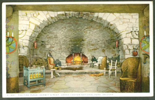 Fireplace Hermit's Rest Grand Canyon National Park AZ postcard 1910s