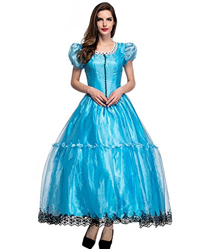 Women Alice Adult Halloween Costume Princess Blue Dress Party Idea