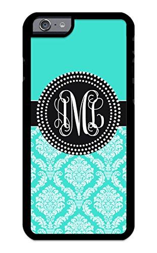iZERCASE Custom Monogram Personalized iPhone 6, iPhone 6S Case Damask Colorful Pattern (Turquoise)