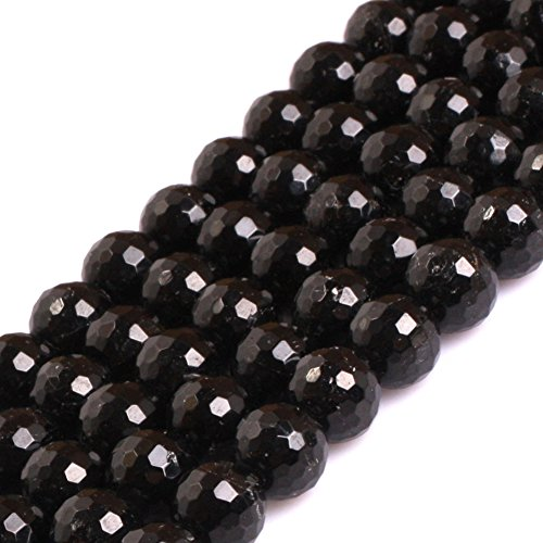 GEM-inside 8mm Natural Faceted Black Tourmaline AAA Grade Genuine Gemstone Beads for Jewelry Making Loose Beads 15""