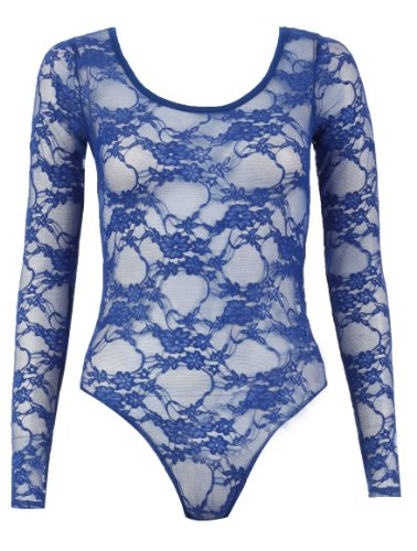 Damen Body, Blumenmuster, Spitze, Gr. 34-40,-€8.35 (M/L (38-40), Blau Royal Blue