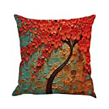 #9: MHB Oil Painting Black Large Tree and Red Flower Cotton Linen Throw Pillow Covers 15% Cotton and 85% Polyester Pillowcase 18 x18 Inch (Multicolor)