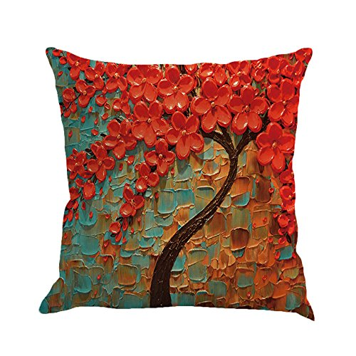 ck Large Tree and Red Flower Cotton Linen Throw Pillow Covers 15% Cotton and 85% Polyester Pillowcase 18 x18 Inch (Multicolor) (Multi Color Pillow)