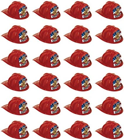 Red The Beistle Company Beistle 66777-1 48-Pack Plastic Junior Firefighter Hats