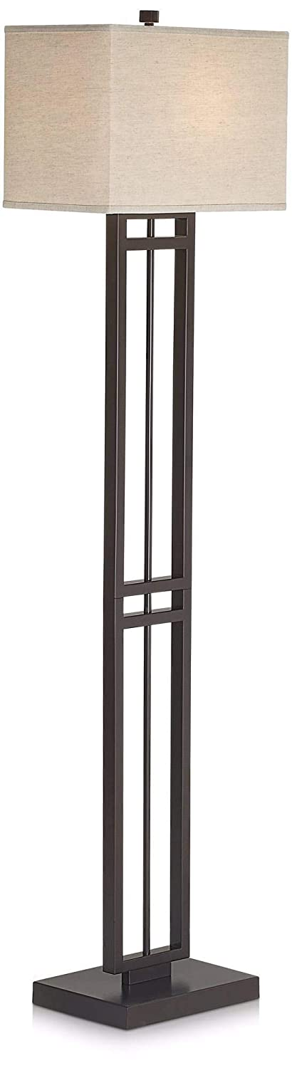 Pacific Coast Lighting 85-2470-20 Central Loft 1-Light Floor Lamp, Bronze Finish with Linen Fabric Shade, 16 x 12 x 64.5