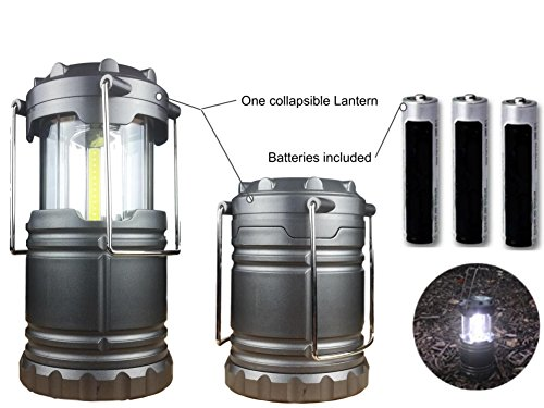 (JOEY'Z Camping Lantern Military Tactical Light Lantern Collapsible Ultra Bright Portable Hanging LED Torch Batteries Included (Gray))