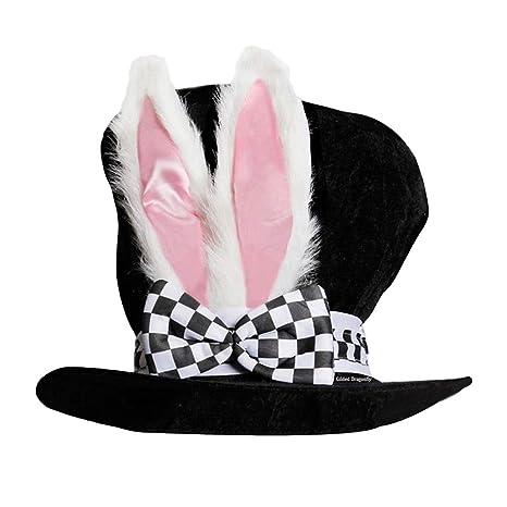 BESTOYARD Cappello di Pasqua con Cappello Nero Cappello a Cilindro con  Orecchie di Coniglio Bianco Cappello 731e7aeceba5