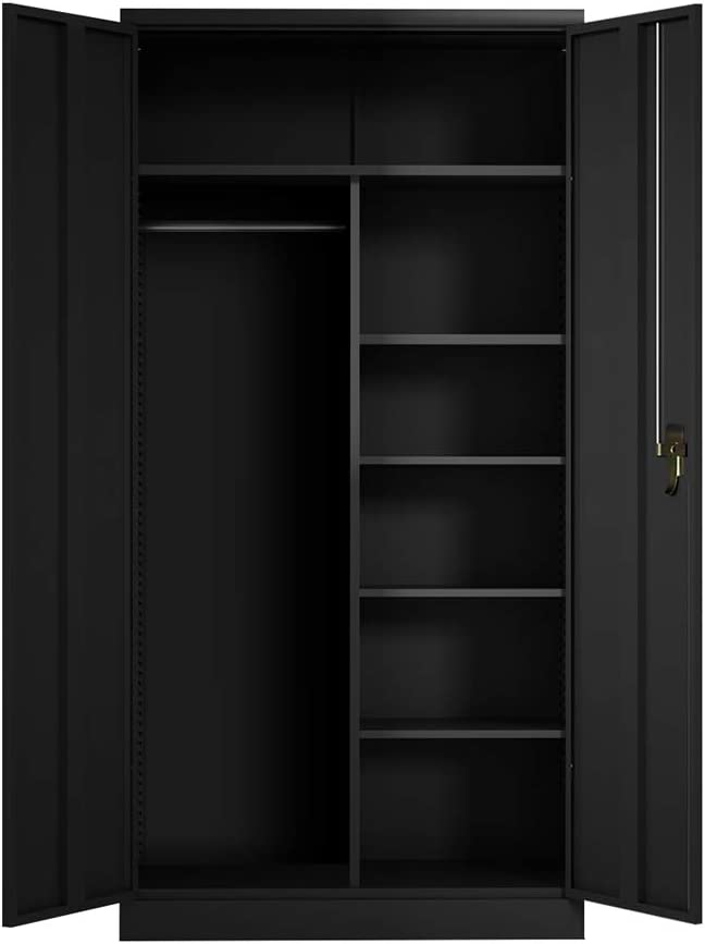 """Cabinet for Storage,Black Steel Storage Cabinet with Doors and Shelves for Home Office,Lock Lockable,Wall Mount (72"""" B)"""
