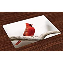 Lunarable Cardinal Place Mats Set of 4 by, Male North American Mountain Bird Standing on a Tree Branch Colorful Wildlife, Washable Placemats for Dining Room Kitchen Table Decoration, Scarlet Taupe