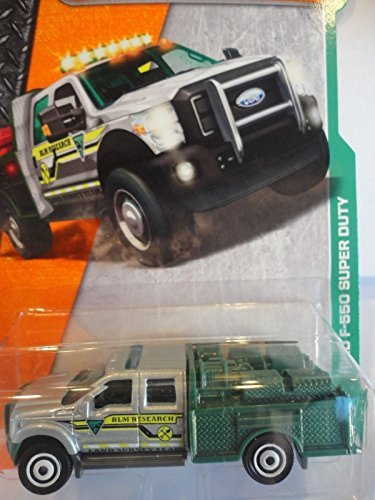 Matchbox 2017 MBX Heroic Rescue Ford F-550 Super Duty Truck 125/125, Silver and Green