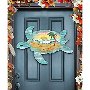 G.DeBrekht Sea Turtle Beach Sunrise Scenic Waves Coastal Wooden Door hanger / wall decor #8198518H 67