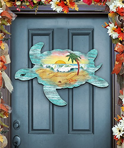 G.DeBrekht Sea Turtle Beach Sunrise Scenic Waves Coastal Wooden Door hanger / wall decor #8198518H