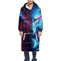 Morbuy Hoodie Blanket Oversized Sweatshirt, Soft Warm 3D Fashion Animal Wolf Printed Plush Blanket Hooded Robe Pullover…