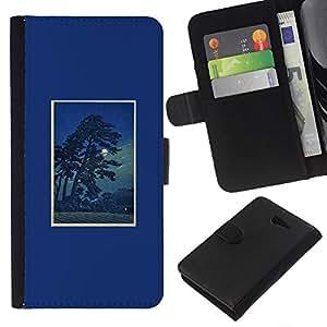 KLONGSHOP // Tirón de la caja Cartera de cuero con ranuras para tarjetas - Árbol de la noche Impresiones Marco Naturaleza - Sony Xperia M2 //