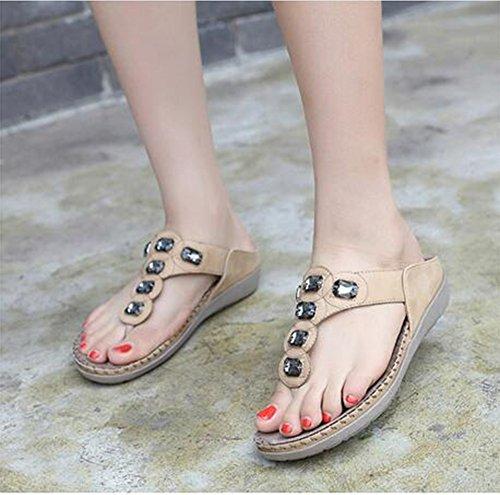 Abricot Fond À Doux Zhang2 Gris Tongs Slip Sandales Confortable 3738 Grande Taille Femme Strass Plat Bohême wXPXrW6qv