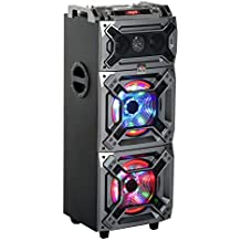 HomCom 100 Watt Portable Bluetooth Speaker System with LED Party Lights, Wheels and Handle