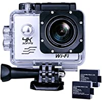 Sports Action Camera Ultra HD Waterproof DV Camcorder 4K WIFI Cam 1080P 170 Degree Wide Angle Sliver