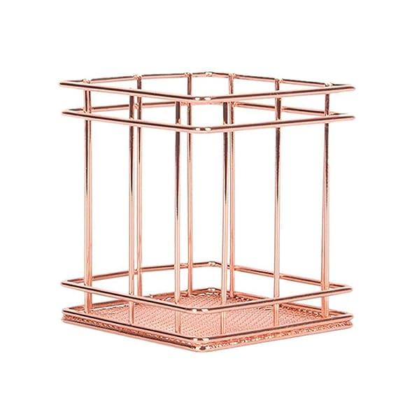 Rose Gold-Platz 1pc Rose Muster Make-up Pinsel Vase Topf Stifthalter Schreibwaren-Speicher-Organisator Container Bleistifthalter Kupferdraht Bleistift Stifthalter Makeup Organizer