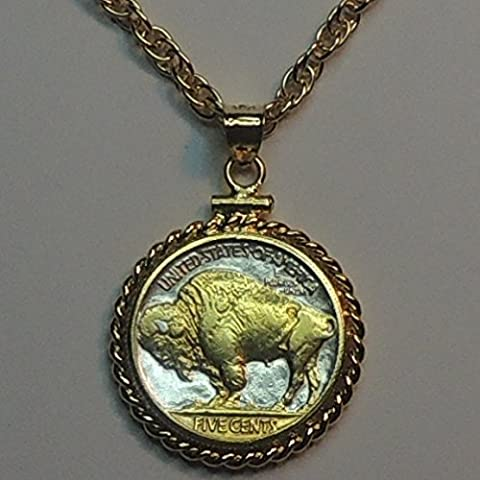 Old U.S. Buffalo nickelGorgeously 2-Toned (Uniquely Hand done) Gold on Silver coin Necklaces for women men girls girlfriend boys teen (Gold Buffalo Necklace)
