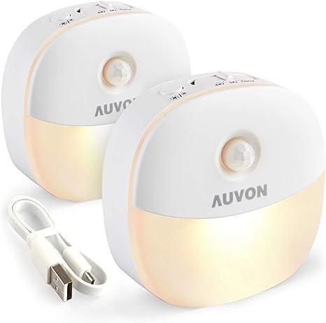 AUVON Rechargeable Motion Sensor Night Light Warm White LED Stick On Closet Lamp