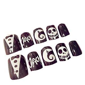 huuation nail art decoration halloween fake nail tips full cover acrylic false nails nail salons and diy nail art skeleton fake nails with glue