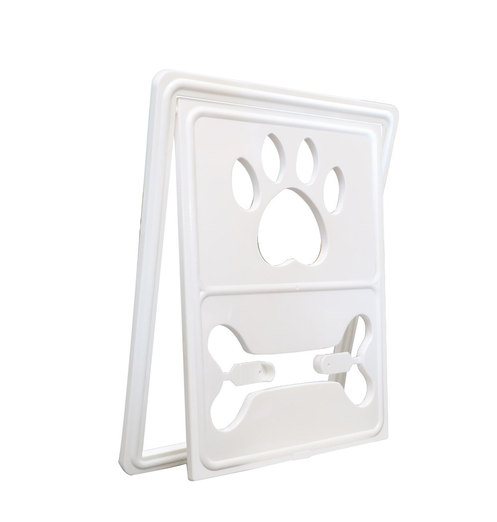 CEESC Dog Door for Sliding Screen Door, Cat Flap Pet Door Dog Claw Style with Automatic Lock, 3 Colors Options (White)