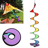 Rurah Fashion Rainbow Wind Outdoor Rainbow Spinner Rotating Colorful Hanging Yard Camping Decoration