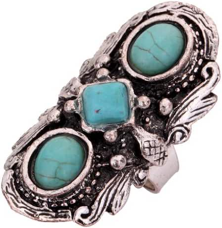 YAZILIND Vintage Oval Square Turquoise Ethnic Tibetan Silver Ring