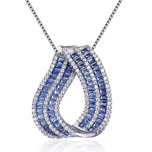 (QMM necklace Pendant Sea Blue Color Water Drop Pendant Girls Love Gift Baguette Cz Stones Necklace )