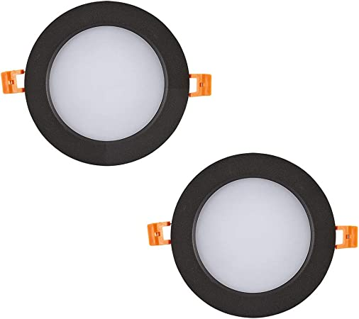 POWER UK 2-Pack Luz de Techo de Downlight led Negro Luz de Techo Americana Luz de Agujero de iluminación Comercial integrada MBD0412 (Color : Luz Blanca, Tamaño : 3W Open Hole 5-5.5cm):