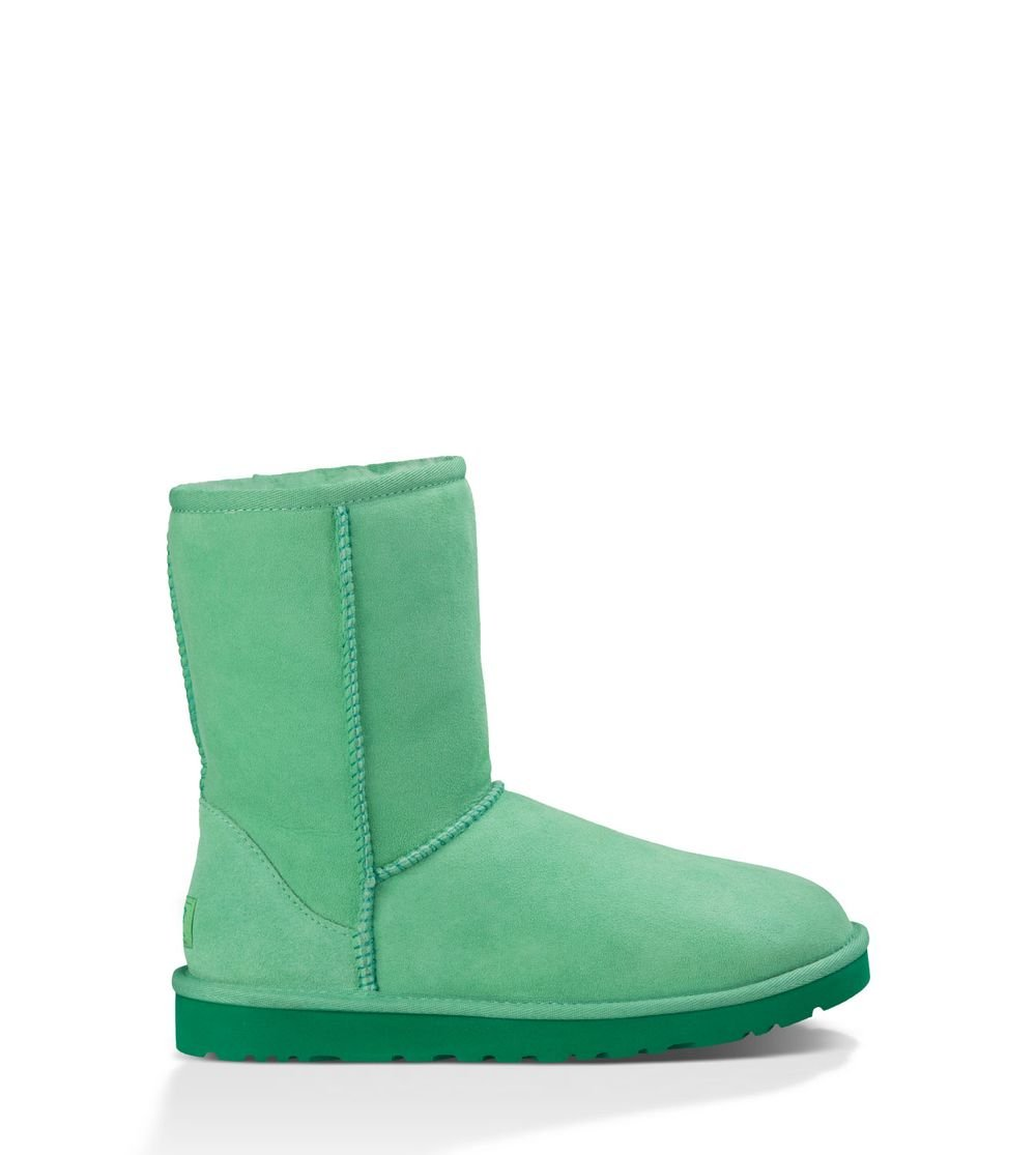UGG Australia Women's Classic Short Green Glass Twin Face Sheepskin  Boot - Medium / 7 B(M) US by UGG
