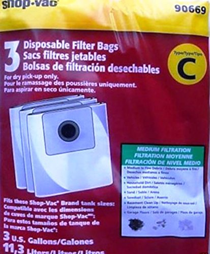 GENUINE SHOP VAC Type C Disposable Canister Vacuum Bags Part 906-69