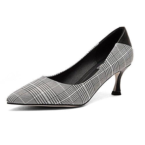 La Femmes Pointu Femmes des Hauts Mode Bouche Talons Peu Sauvage avec Femmes Bien La Chaussures à Carreaux des des Black Les Profonde DKFJKI qtHvT