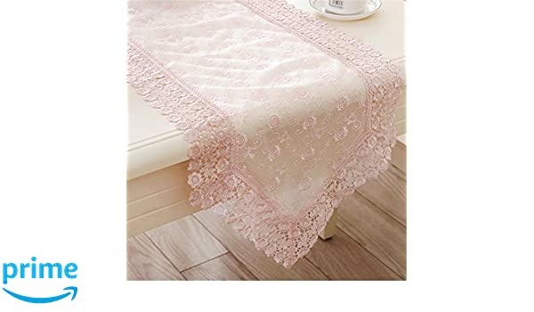 16 by 36-Inch Manor Luxe English Lace Trim Table Runner Rose Quartz 16 x 36 ML16149