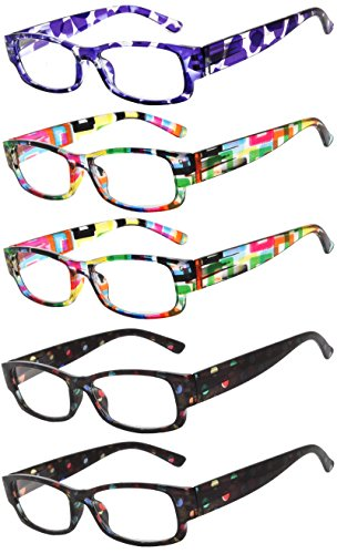 Readers 5 Pack of Elegant Womens Reading Glasses with Beautiful Patterns for Ladies Deluxe Spring Hinge Stylish Look 180 Day Guarantee - Online Sunglasses Reading